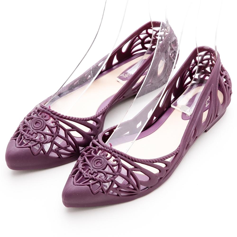 River&Moon防水鞋  晴雨兩穿異國簍空洞洞尖頭平底鞋 紫