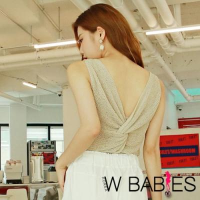 正韓 純色透膚美背扭結針織背心 (米色)-W BABIES