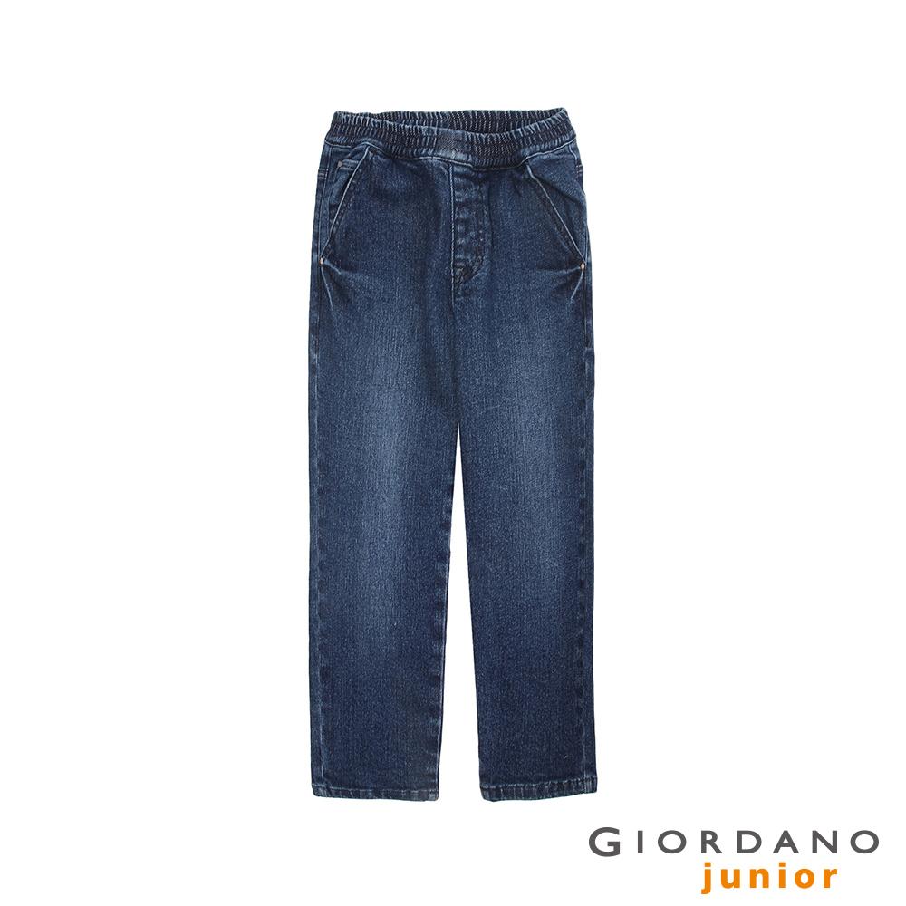 GIORDANO 童裝鬆緊腰丹寧牛仔褲-77 中藍
