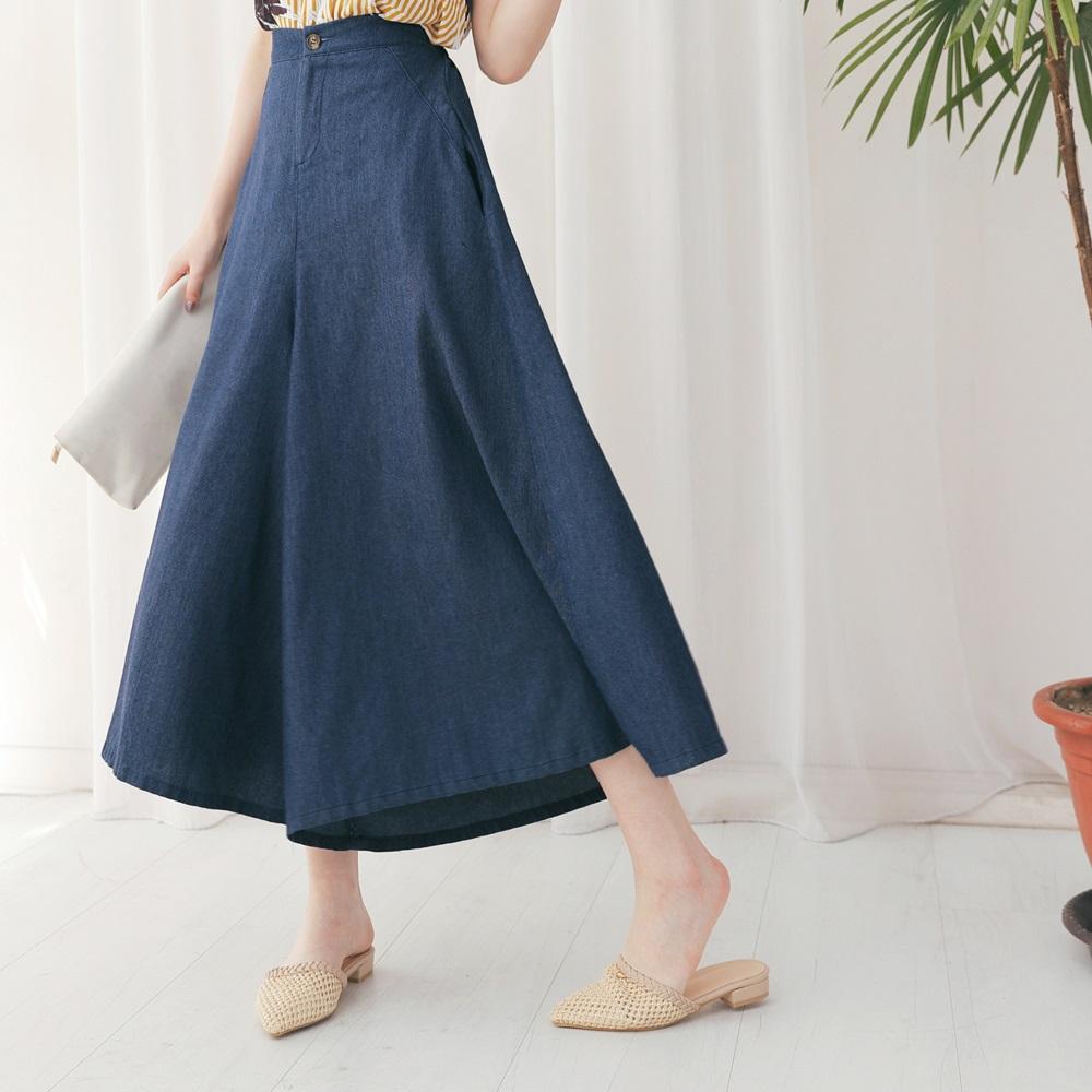 純色質感單寧寬褲裙-OB嚴選