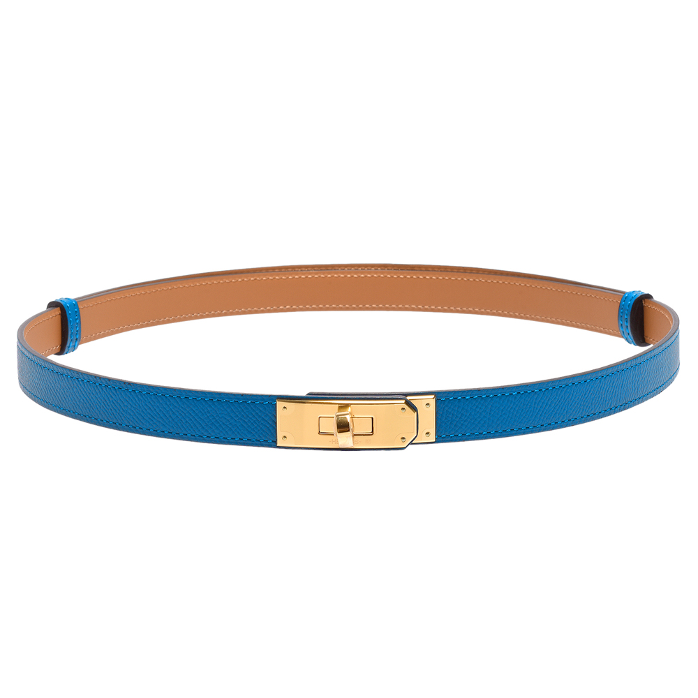 HERMES 經典Kelly系列金色轉釦造型Epsom小牛皮窄版女仕腰帶(瑪瑙藍)