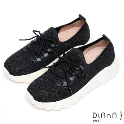 DIANA 漫步雲端厚切焦糖美人-輕量樂活鑽飾綁帶老爹鞋-黑