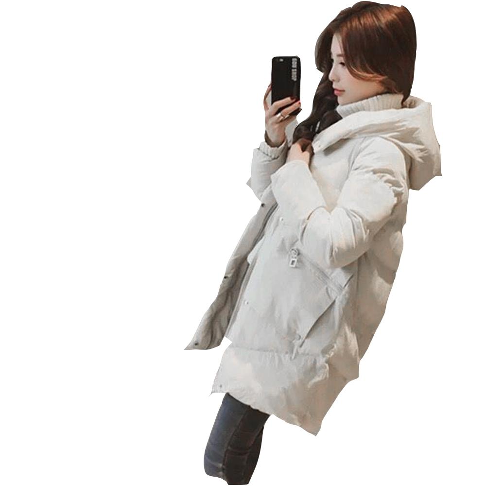 【白鵝buyer】簡約拉鍊口袋厚暖鋪棉外套(象牙白)