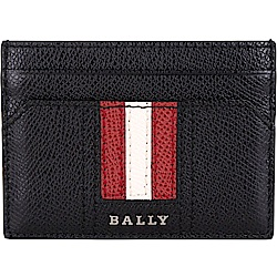 BALLY THAR 經典紅白條紋牛皮卡片夾(黑色)