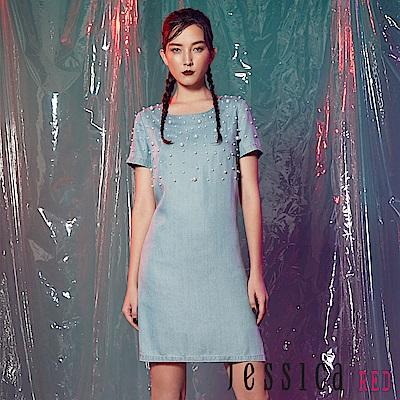 JESSICA RED - 經典單寧珍珠修身洋裝(藍)