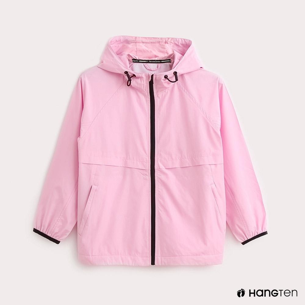 Hang Ten-ThermoContro-童裝薄夾克收納風衣外套-粉