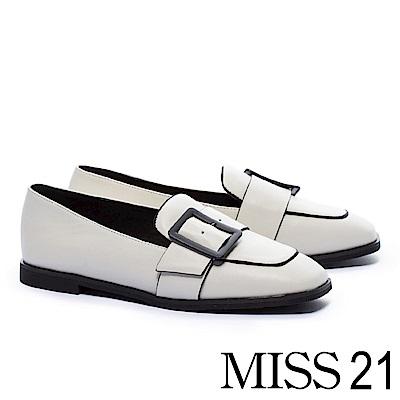 低跟鞋 MISS 21 復古文藝方釦帶全真皮方頭樂福低跟鞋-白
