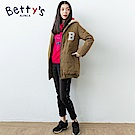 betty's貝蒂思 前側印花彈性長褲(黑色)