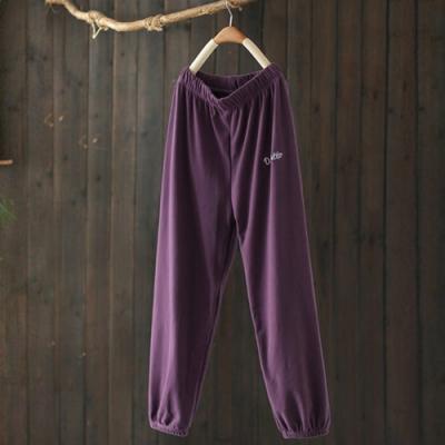 軟糯霧面質感字母刺繡運動褲寬鬆束腳長褲-設計所在