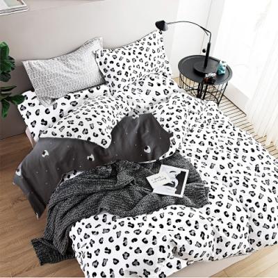 A-ONE 100%純棉-黑白E系列-加大床包/被套組-雪豹
