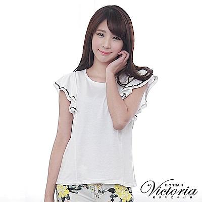 Victoria 緞帶荷葉短袖T-女-白色