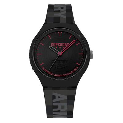 Superdry極度乾燥 迷彩馬賽克時尚腕錶-黑X紅(SYG251B)/43mm