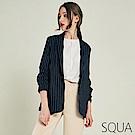 SQUA 條紋摺皺西裝外套