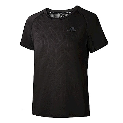 【ZEPRO】女子科技感炫彩運動短袖上衣-黑