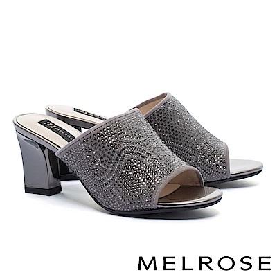 拖鞋 MELROSE 復古奢華晶鑽羊麂皮粗高跟拖鞋-灰