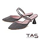 TAS 復古格紋2WAY低跟涼拖鞋-低調灰