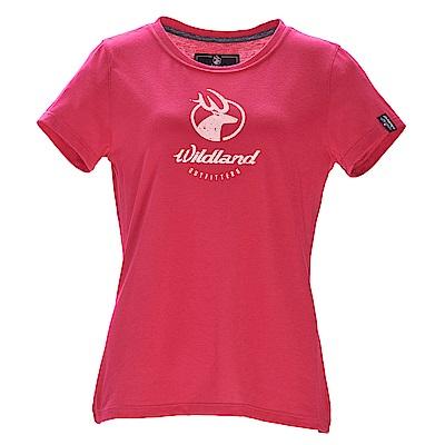 荒野【wildland】女彈性印花經典抗UV上衣嫣紅色