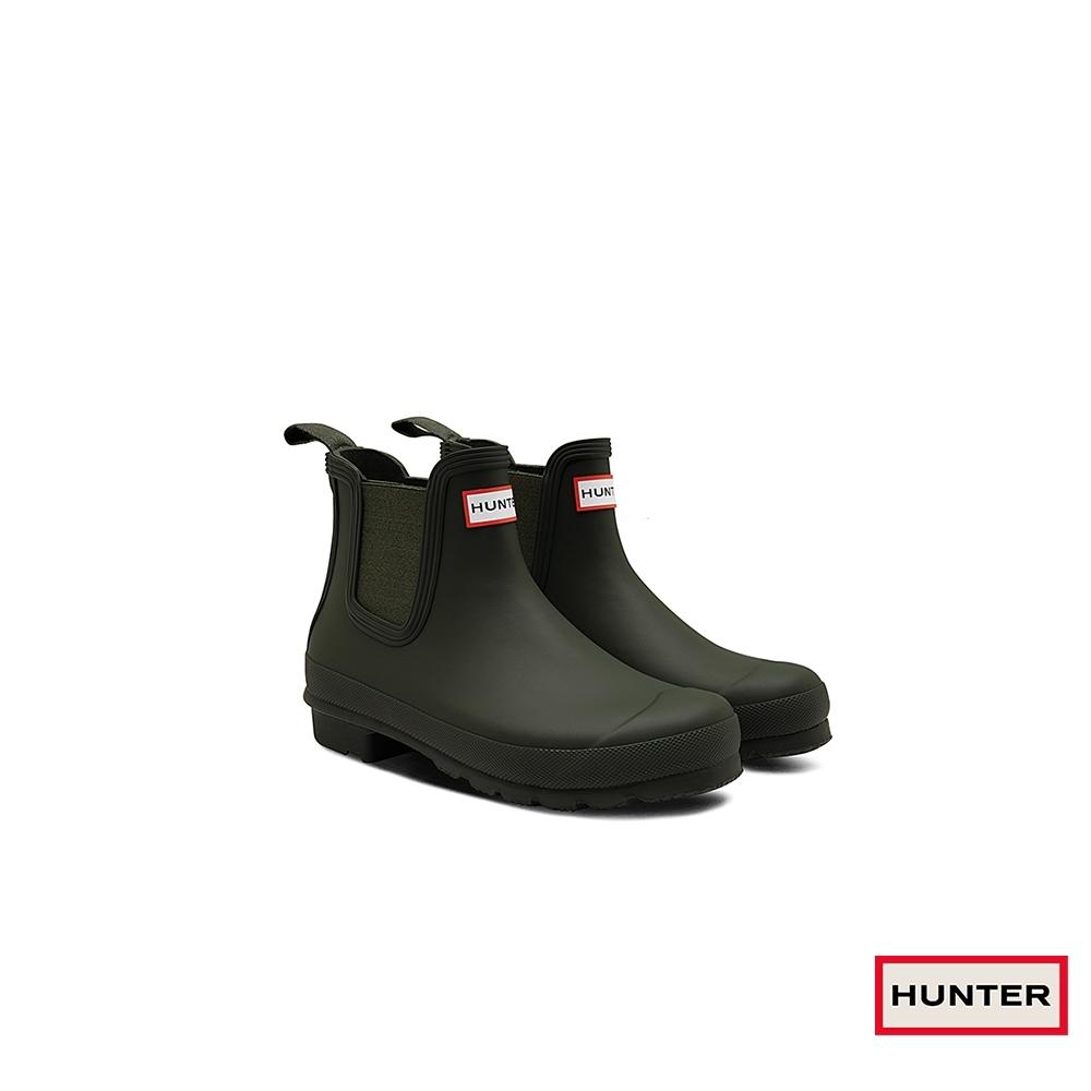 HUNTER - 女鞋-切爾西霧面踝靴 - 橄欖