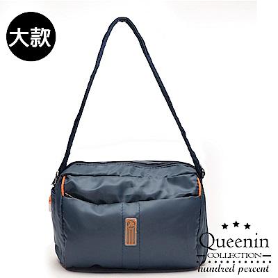 DF Queenin流行 - 日系甜美輕盈反光條防潑水斜背包-大-藍色