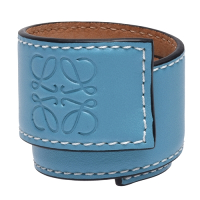 LOEWE Slap系列品牌LOGO烙印小牛皮捲尺造型手環(小-亮藍)