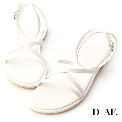 D+AF 夏天的風.細帶交叉平底涼鞋*米白