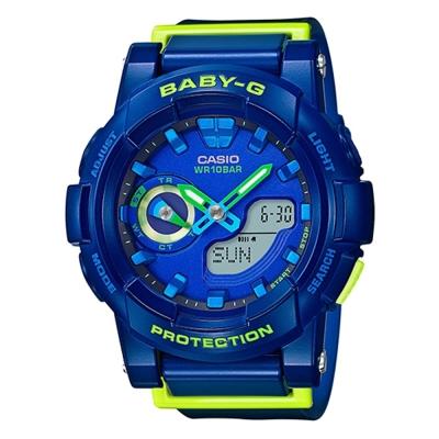 BABY-G亮眼搶色運動穿搭跑者設計概念錶(BGA-185FS-2A)-藍x綠針/44mm