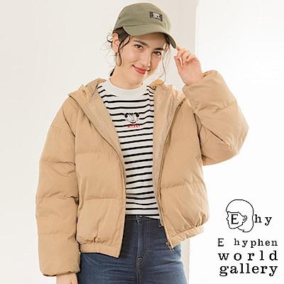 E hyphen 保暖中空纖維短版連帽大衣外套