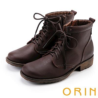 ORIN 中性帥氣 蠟感牛皮綁帶短筒靴-咖啡