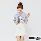 H:CONNECT 韓國品牌 女裝-復古感圖像條紋上衣-紫