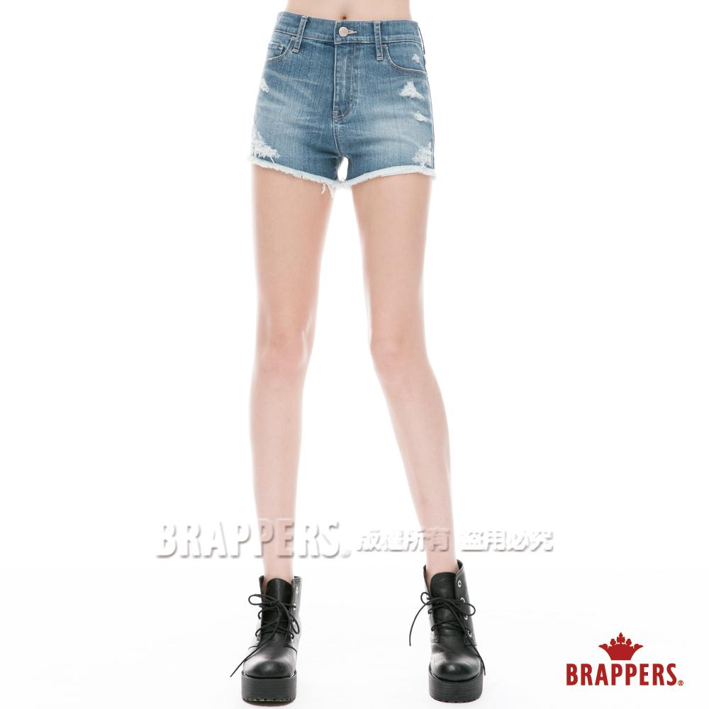 BRAPPERS 女款 Boy Friend系列-中腰彈性熱褲-淺藍