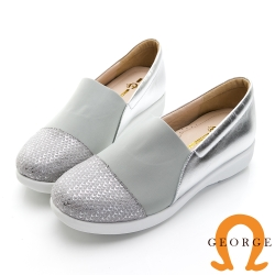 GEORGE 喬治皮鞋 真皮壓紋彈性萊卡雙面料休閒鞋-銀