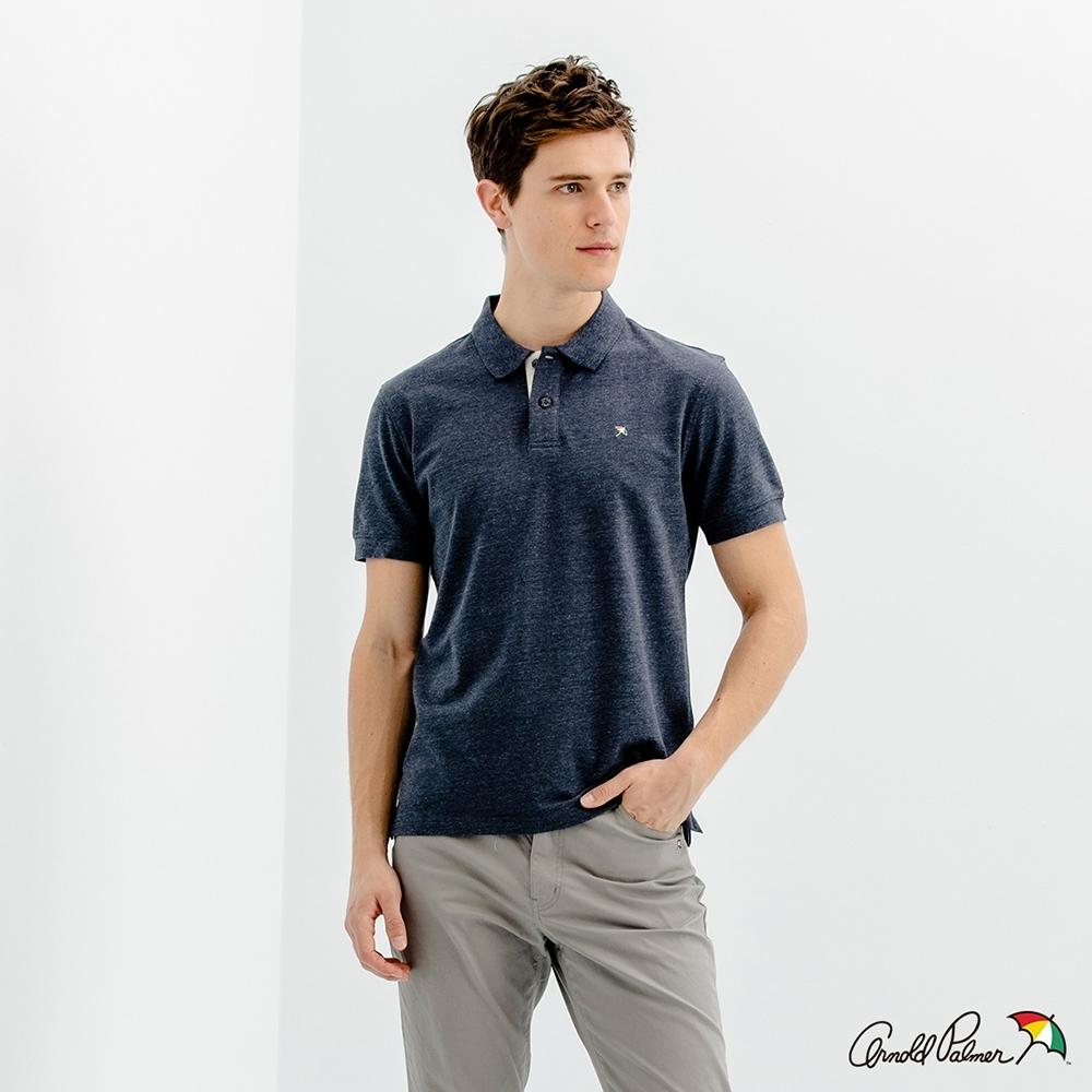 Arnold Palmer -男裝-經典小傘花紗彈性網眼POLO衫-深藍色