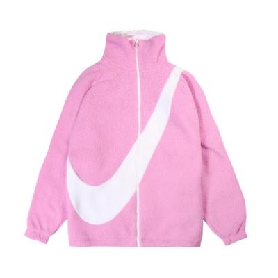 Nike 外套 NSW Swoosh Jacket 女款 雙面穿 大勾勾 保暖 毛毛 立領 粉 白 DC5138616