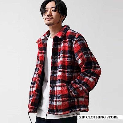 街頭風仿羊絨教練夾克外套(3色) ZIP日本男裝
