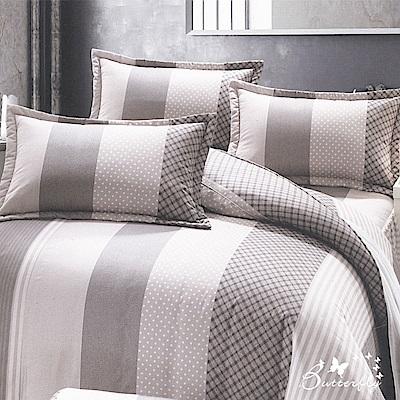 BUTTERFLY-台製40支紗純棉加高30cm薄式雙人床包+雙人鋪棉兩用被-英倫風情-灰