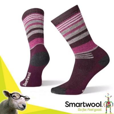 美國 SmartWool 美麗諾羊毛 中級減震型徒步條紋中長(2入)_酒紅