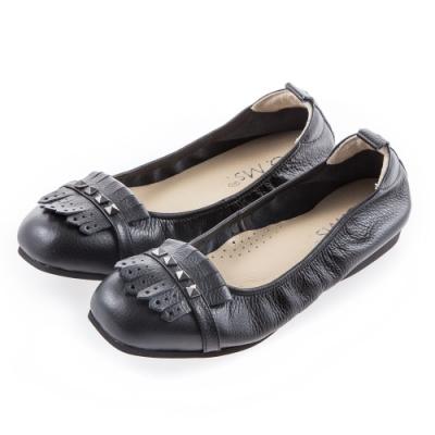 G.Ms. MIT系列-流蘇鉚釘牛皮娃娃鞋-黑色