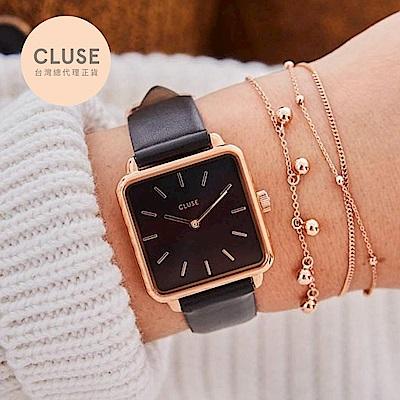 CLUSE LA GARCONNE 方框系列腕錶 (玫瑰金框/黑面/黑錶帶)