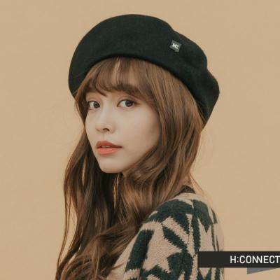H:CONNECT 韓國品牌 配件 - 側logo絨面貝雷帽 - 黑