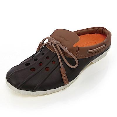 (女)Ponic&Co美國加州環保防水洞洞半包式拖鞋-深咖啡