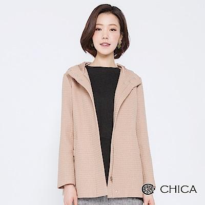 CHICA 經典優雅細格織紋羊毛外套(2色)
