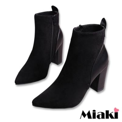 Miaki-踝靴韓風拼色高跟尖頭短靴-黑