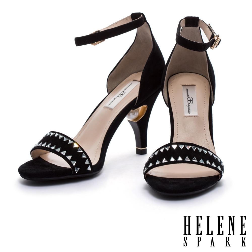 涼鞋 AS 清新簡約一字水鑽珍珠全真皮美型高跟涼鞋-黑
