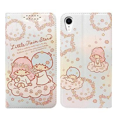 三麗鷗授權 雙子星 iPhone XR 6.1吋 粉嫩系列彩繪磁力皮套(花圈)