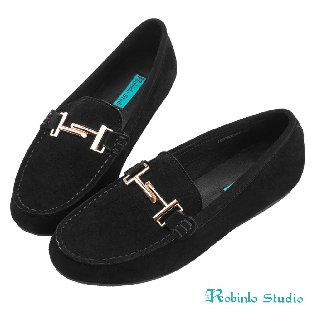 Robinlo 低調感幾何金屬雙T飾扣莫卡辛鞋 黑