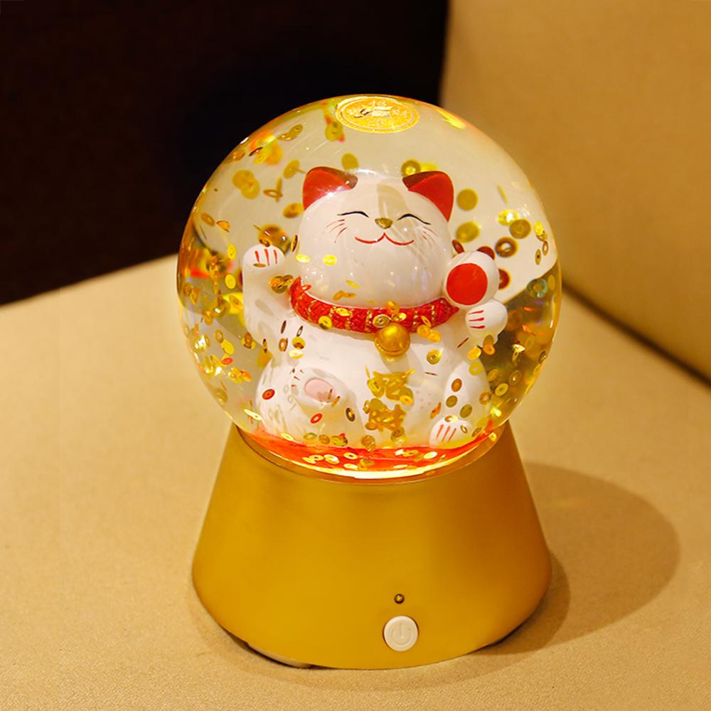 法國三寶貝 錢幣招財貓藍芽喇叭LED白燈夜燈擺飾
