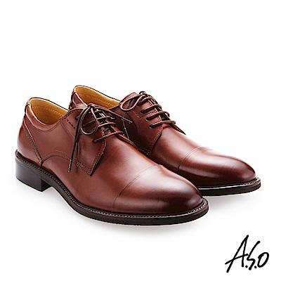 A.S.O 職人通勤 綁帶蠟感小牛皮紳士鞋 茶