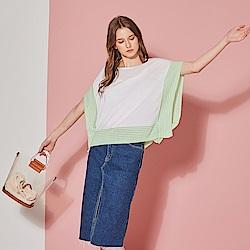 ICHE 衣哲 輕時尚蝴蝶寬袖針織顯瘦造型上衣(兩色)-草木綠