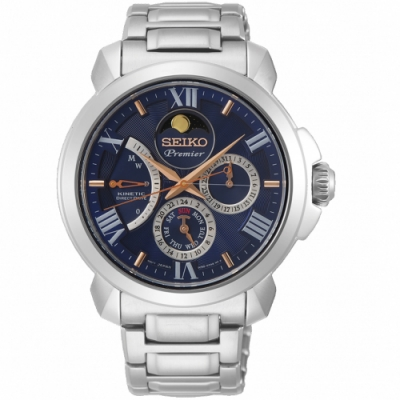 SEIKO精工Premier人動電能月相錶(SRX017J1)-藍