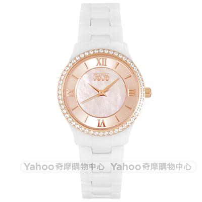 NATURALLY JOJO璀璨晶鑽珍珠貝陶瓷手錶~玫瑰金X白 30mm